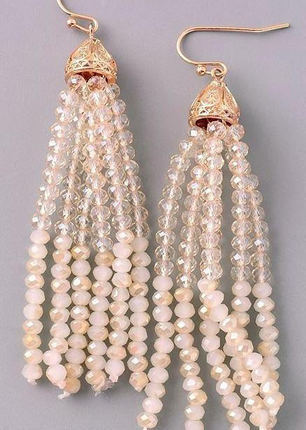 Beige Seeded Bead Earrings-Luminous Sky Boutique