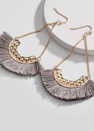 Coming Soon! Grey Fringe Drop Earrings-Luminous Sky Boutique
