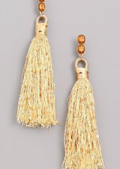 Sparkly Gold Tassel Earrings-Luminous Sky Boutique