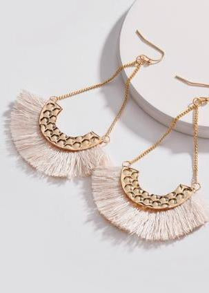 Coming Soon! Creme Fringe Drop Earrings-Luminous Sky Boutique