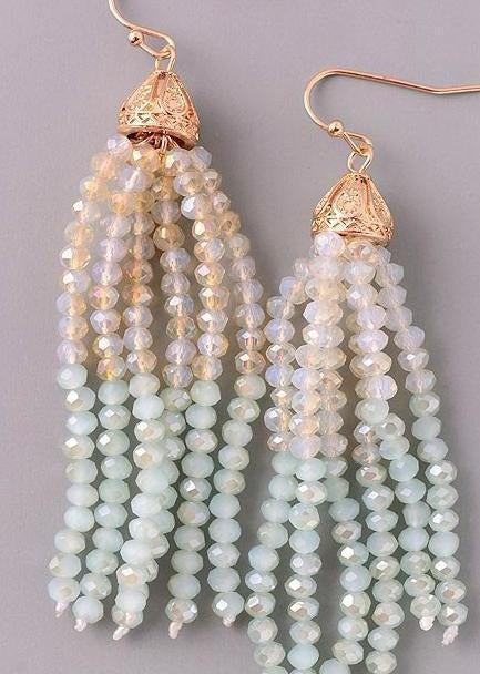 Mint Seeded Bead Earrings-Luminous Sky Boutique