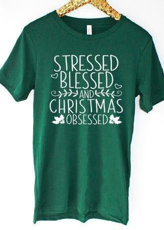 Christmas Obsessed Graphic Tee!-Luminous Sky Boutique