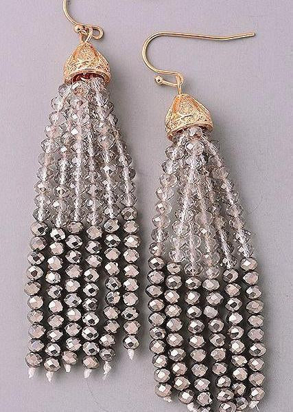 Gunmetal Seeded Bead Earrings-Luminous Sky Boutique