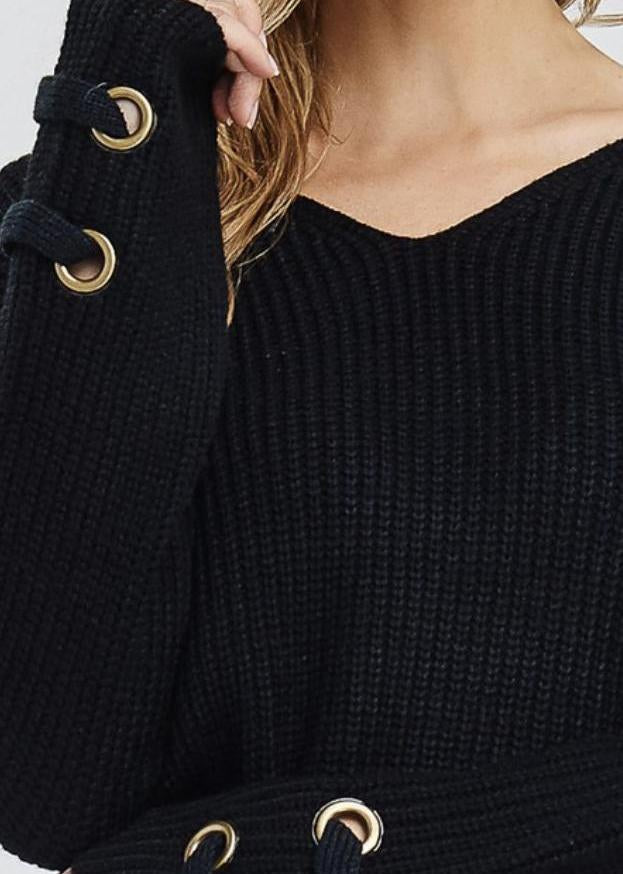 The V Neck Cable Knit Sweater-Luminous Sky Boutique
