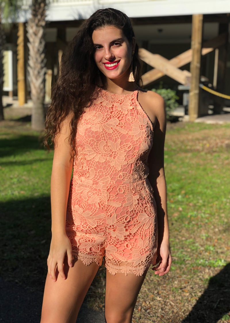 "The ""Just Peachy"" Lace Romper"