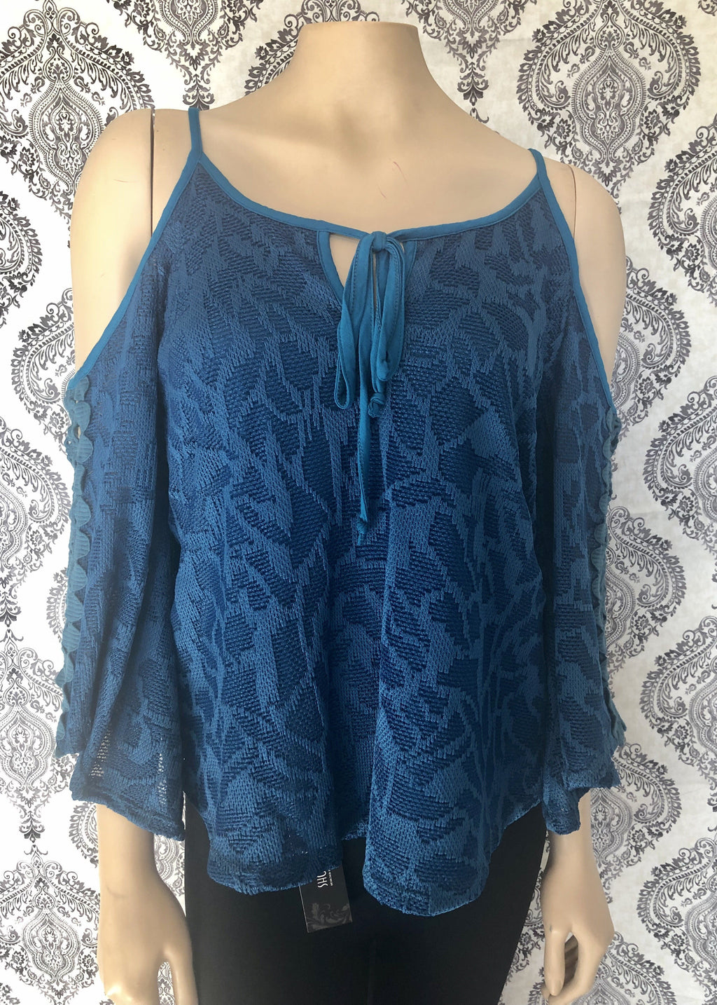 Cold Shoulder & Blue Lace Blouse