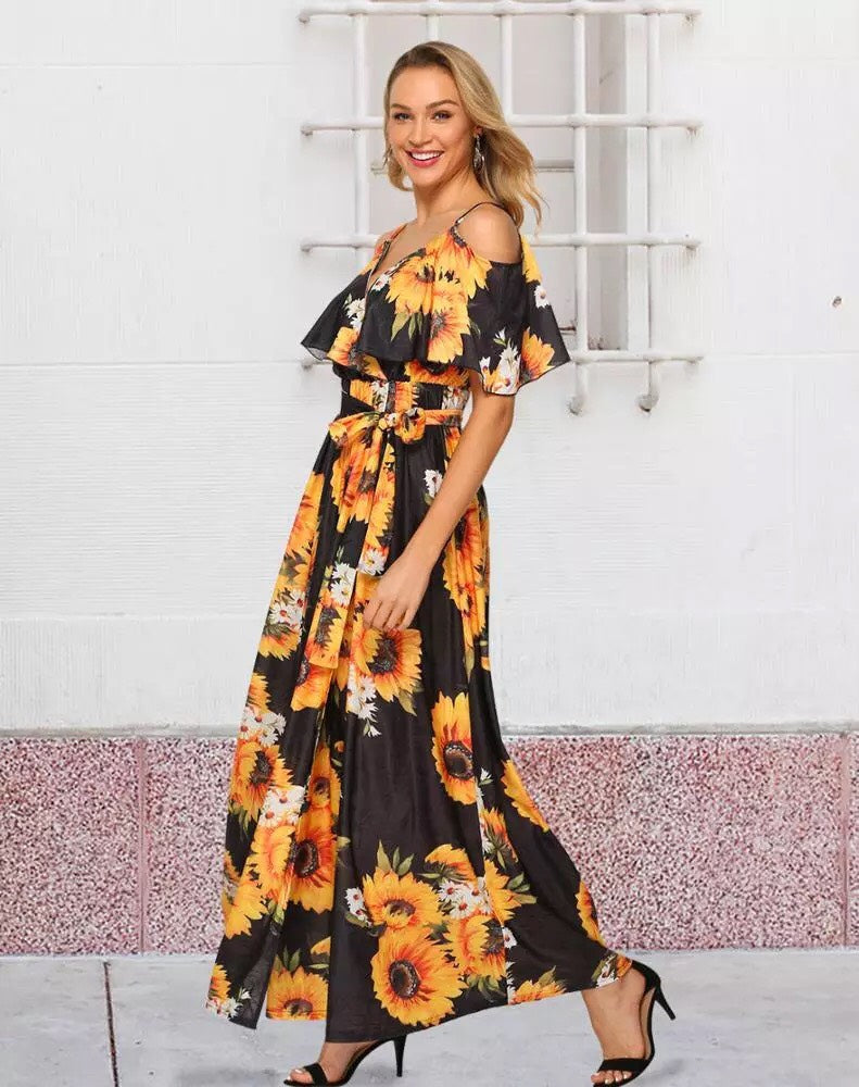 Black Sunflower Maxi Splice Dress