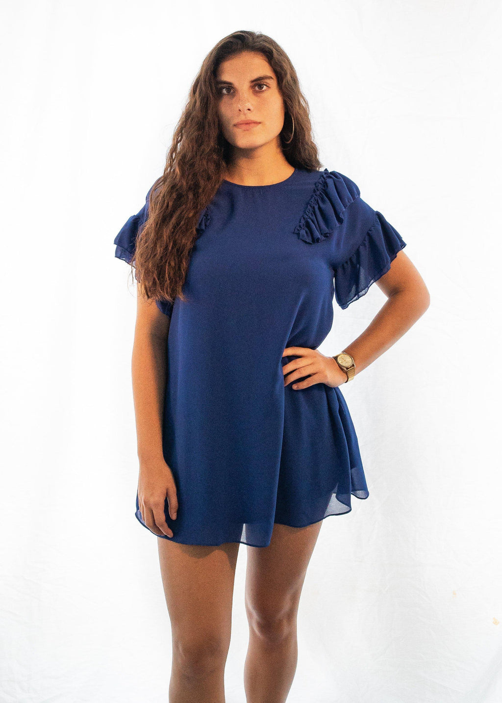 "The Ruffled Shoulders ""Blue Baby"" Dress-Luminous Sky Boutique"