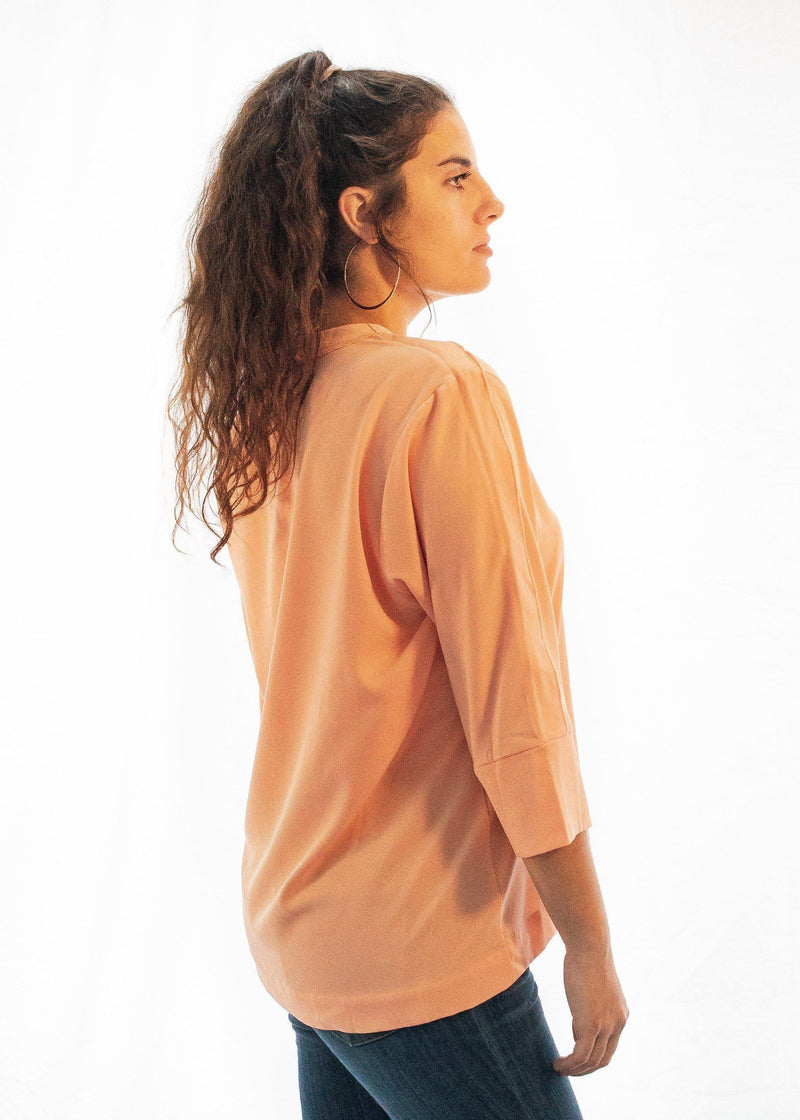 "The Lace Up ""Apricot Joy"" Shirt-Luminous Sky Boutique"