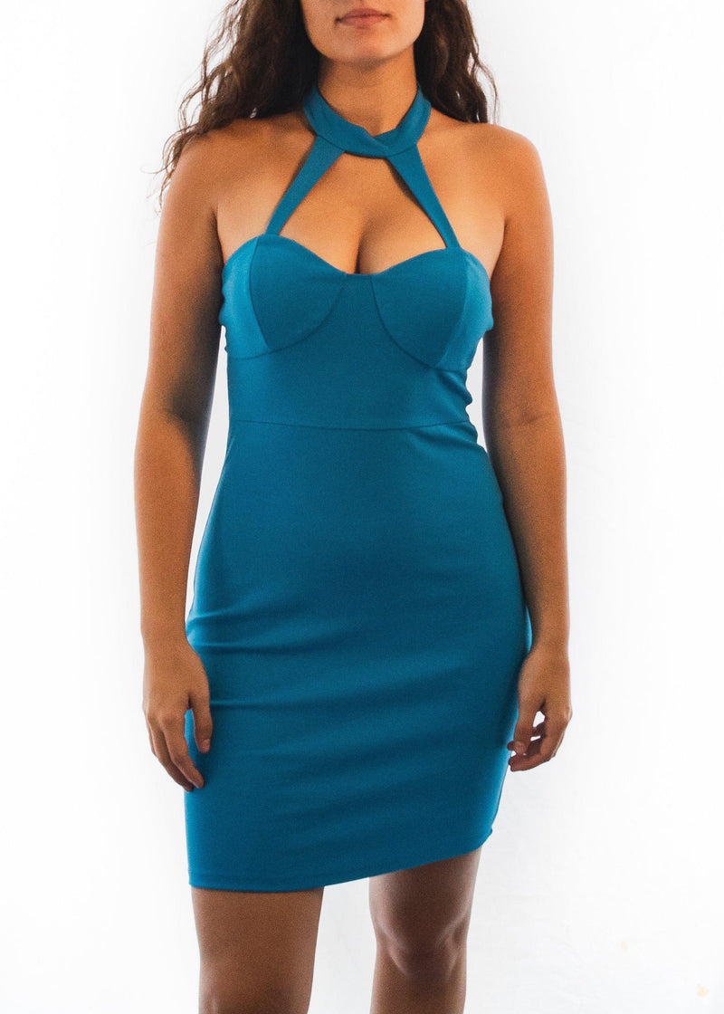 "The Choker Neck ""Smooth Blue"" Dress-Luminous Sky Boutique"