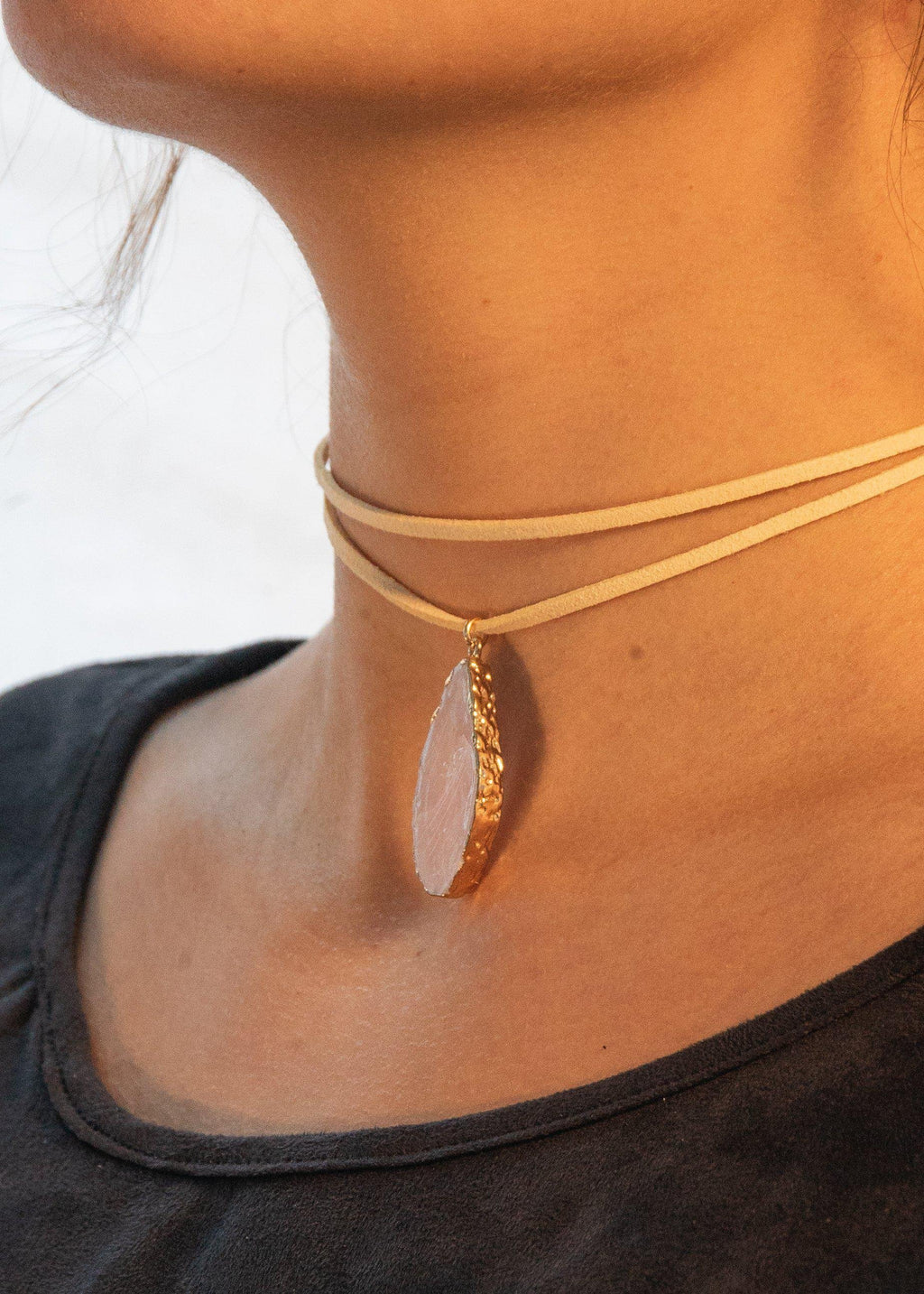 The Tan & Pink Natural Stone Choker-Luminous Sky Boutique