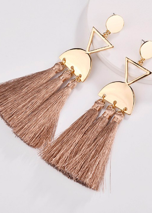 Sandy Brown Tassel Earrings
