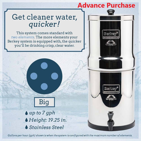Big Berkey® System (2.25 gal) w/4 Filters