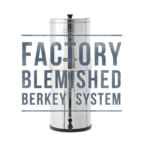Blemished Crown Berkey water filter system . Berkey discounts . berkey water filters