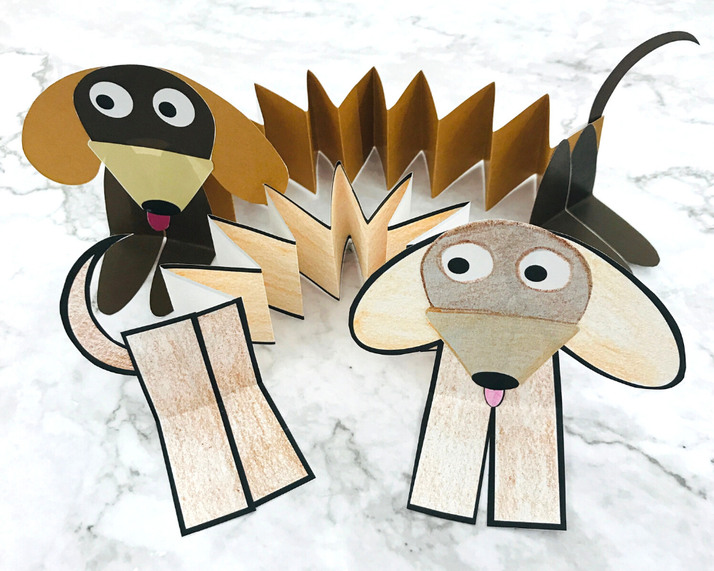 Make your own Paper Slinky Dog!