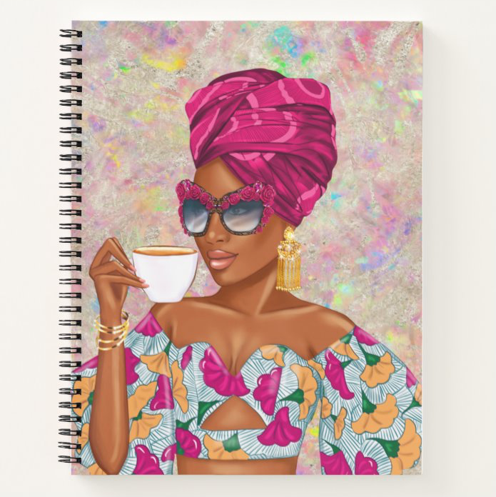 Summer Tea - Fuchsia - Custom Afrocentric Notebook