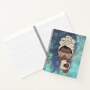 Morning Coffee Tea  - Custom Afrocentric Notebook