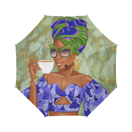 Summer Tea Green/Blue - Custom Afrocentric Umbrella