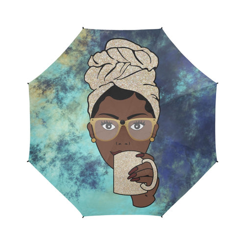 Morning Coffee Navy Batik - Custom Afrocentric Umbrella