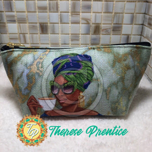 Summer Tea - Green/Blue - Small T-Bottom Accessory Pouch