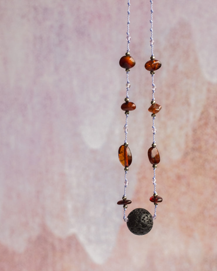 Baltic Amber, Lilac Amethyst & Pyrite Lava Stone Necklace