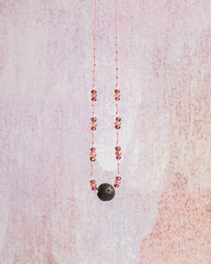 Sunstone, Rhodolite Garnet & Rainbow Moonstone Lava Stone Necklace