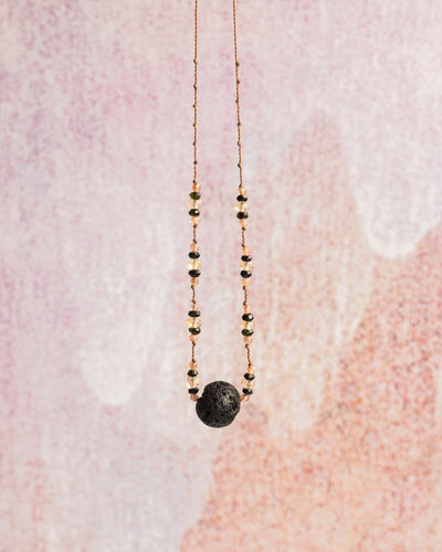 Natural Citrine, Dark Green Tourmaline & Sunstone Lava Stone Necklace