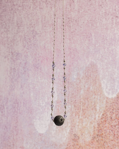 Iolite & Pyrite Lava Stone Necklace