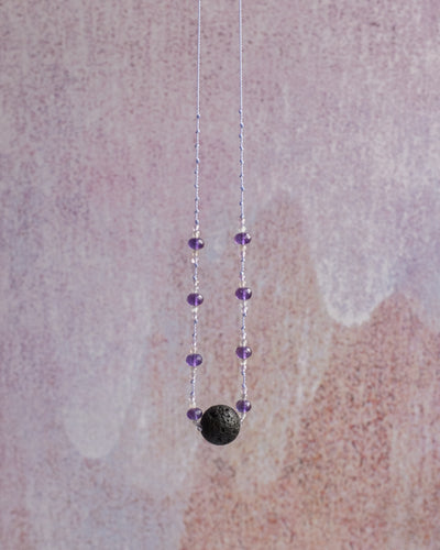 Dark Amethyst, Grey Moonstone & Lilac Amethyst Lava Stone Necklace