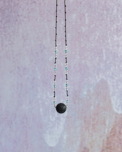 Apatite, Grey Moonstone & Labradorite Lava Stone Necklace