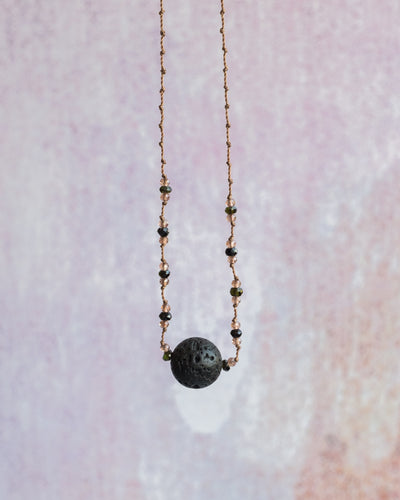 Dark Green Tourmaline & Andalusite Lava Stone Necklace