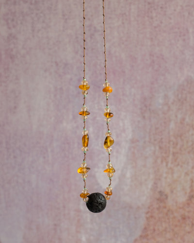 Baltic Amber, Natural Citrine & Chrysoprase Lava Stone Necklace