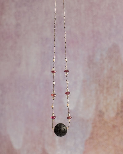 Pink Tourmaline, Grey Moonstone & Pink Opal Lava Stone Necklace