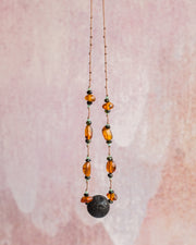 Baltic Amber, Dark Green Tourmaline & Chrysoprase Lava Stone Necklace