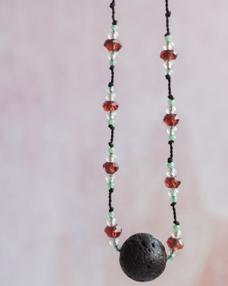 Red Garnet, Prehnite & Chrysoprase Lava Stone Necklace