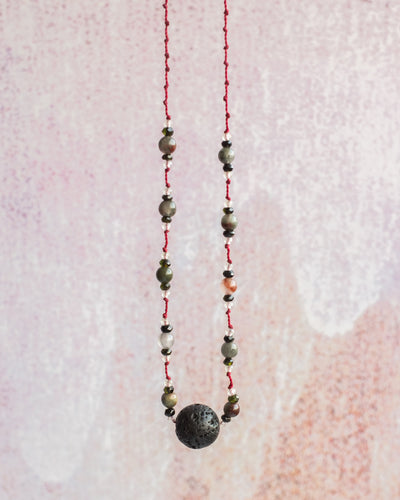 African Bloodstone, Dark Green Tourmaline & Prehnite Lava Stone Necklace