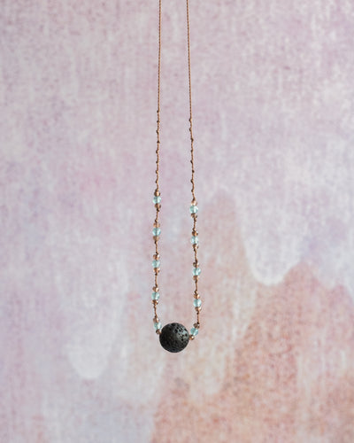 Blue Apatite & Andalusite Lava Stone Necklace