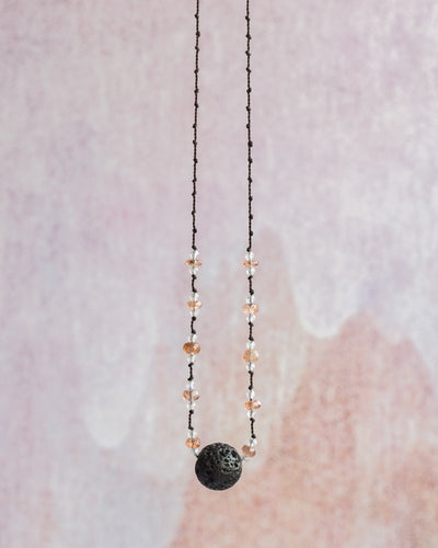 Sunstone & Moonstone Lava Stone Necklace