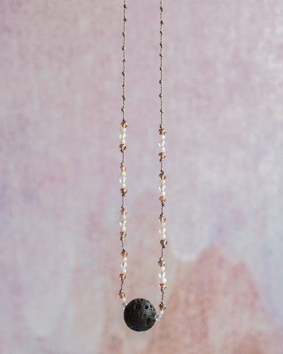 Moonstone, Pink Opal & Andalusite Lava Stone Necklace