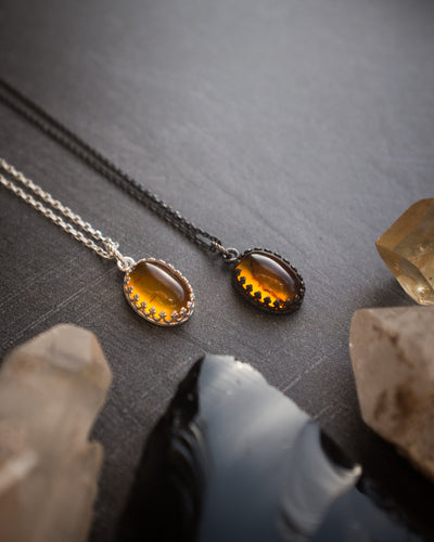 Amber Sterling Silver Necklace