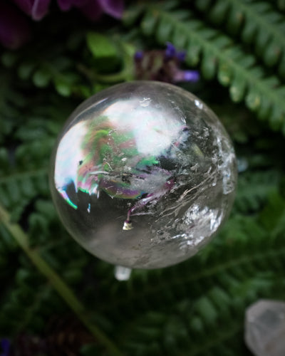 Clear Quartz with Rainbow Inclusion Crystal Ball
