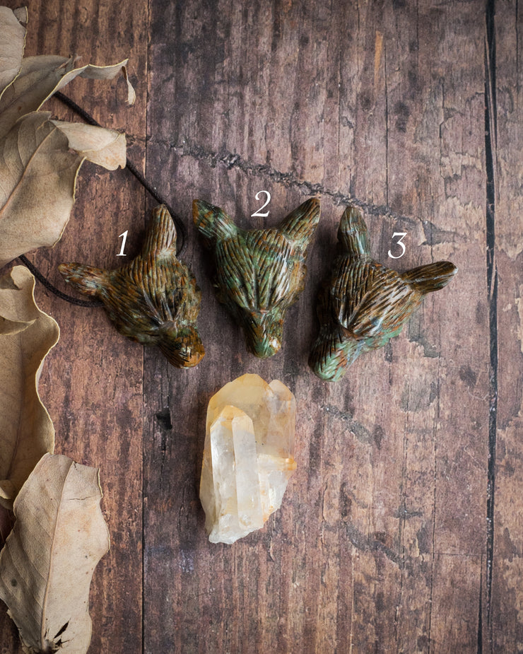Large Green Opal Hand Carved Wolf Necklace