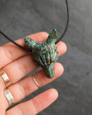 African Turquoise Hand Carved Wolf Necklace