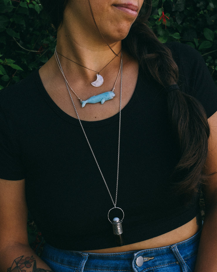 Blue Goldstone Hand Carved Whale Necklace