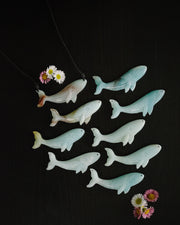 Amazonite Hand Carved Blue Whale Necklace
