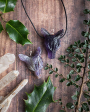Large Amethyst Hand Carved Wolf Necklace