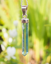 Blades of Light Aqua Aura Quartz Point Sterling Silver Necklace