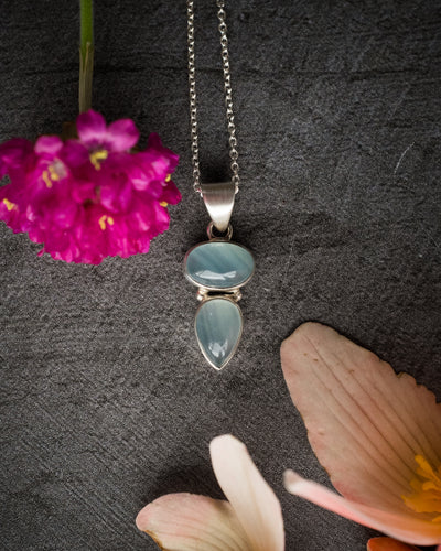 Lemurian Aquatine Calcite Sterling Silver Necklace