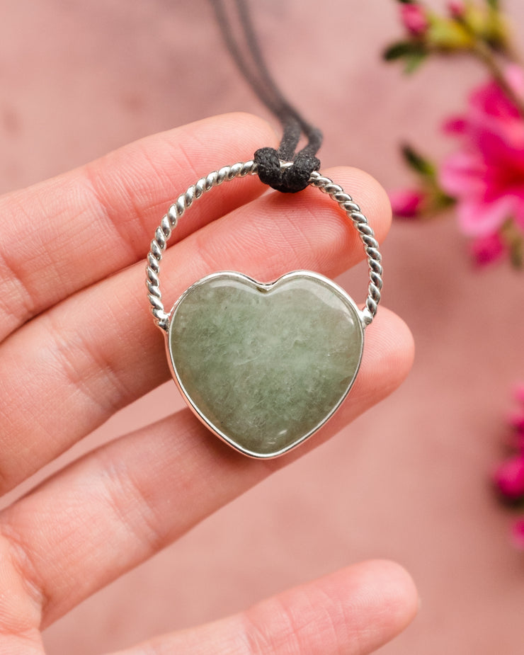 Aventurine Heart Sterling Silver Necklace