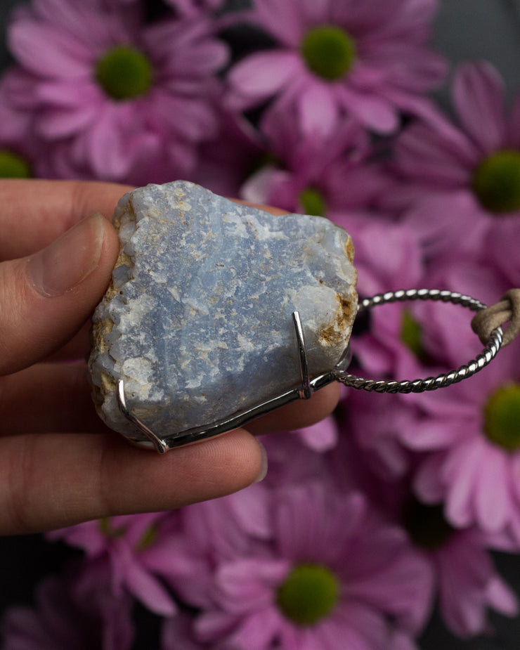 Raw Blue Lace Agate Sterling Silver Necklace